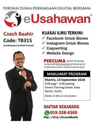Program eUsahawan PERCUMA Bersama Coach Baahir (Kod TB315)