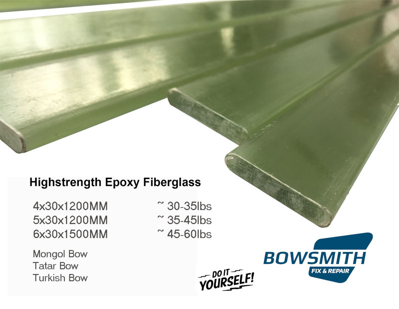 Epoxy Fiberglass 4x30x1200mm for Traditional Archery Bow Making 30-40lbs