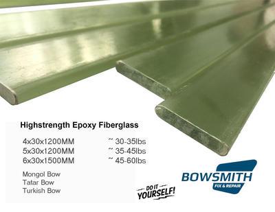 Epoxy Fiberglass 6x30x1500mm for Traditional Archery Bow Making 50-60lbs
