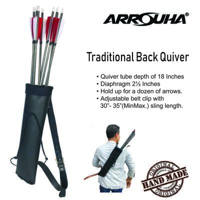 Arrouha Traditional Back Quiver 18 Inches Hold Up Dozen Arrows