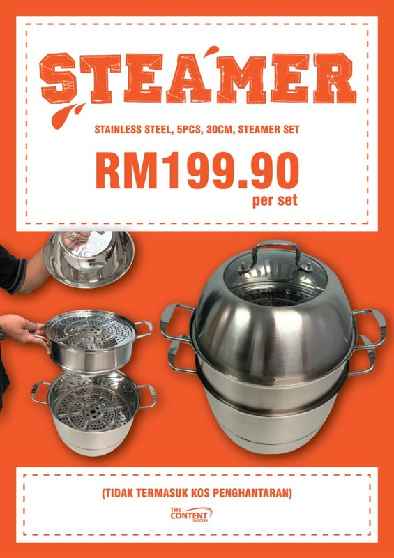 Stainless Steel 5PCS 30cm Steamer Set