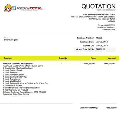 Tempahan Date Pemasangan utk  Autogate Italy  RM1280 (deposit rm500 shj! )