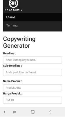 Mobile Copywriting Generator